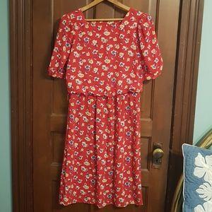 Vintage Knee Length Floral Printed Dress